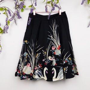 Vintage Black Swan Print Skirt
